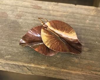 Fold Formed Dark Copper Leaf Earrings, Nature Jewelry