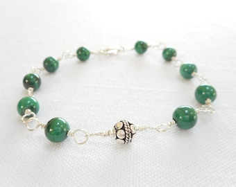 Malachite Bracelet, Genuine Gemstone Bali Sterling Silver Jewelry, Green Stone Bead Bracelet, Wire Wrapped Link Bracelet, Gift for Her