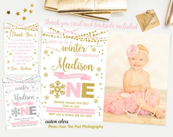 Winter onederland invitation girl, Pink and gold first birthday invitation, winter first birthday invitation, thank you card and backside