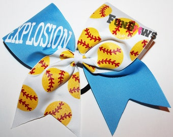 Amazing Softball Hairbow  - totally customize this bow ! By FunBows !