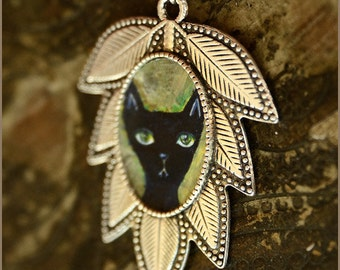 Black Cat leaf necklace - wearable art - illustrated jewelry