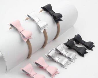 Mini Leather Bow headband and clip