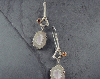 Sterling Silver Mouse Pelvis Earrings with Garnets and Agate Geodes // cast bone jewelry // one of a kind // gifts for her