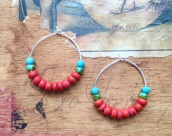 Everyday Style or the Perfect Affordable Holiday Gift! WOMEN'S EARRINGS, Coral Color, Turquoise Glass, Silver Hoops, Silver Earrings, Beaded