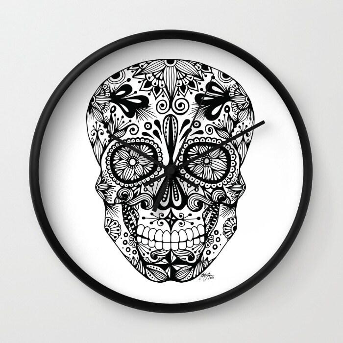 Zentangle - Sugar Skull Clock
