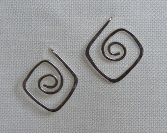 Silver Spiral Post Earrings, Sterling Silver Post Earrings, Textured Square Spiral Earrings, Argentium Silver Spirals, Funky Earrings