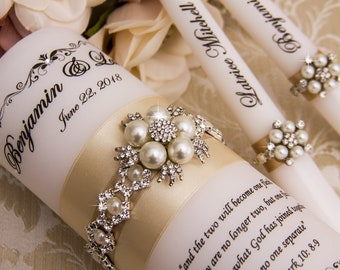 Pearl Unity Candle Set Champagne Wedding Candle Set Personalized Wedding Candles Wedding Candles