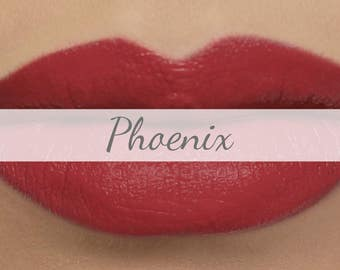 "Matte Coral Red Lipstick Sample - ""Phoenix"" vegan and made with natural organic ingredients"