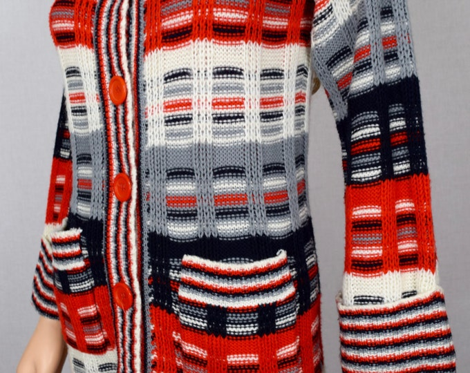 Vintage 1970's JOYCE SpAcE DyEd STRIPED HiPPiE HiPsTeR BeLL Sleeved Cardigan Sweater Size S