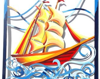 Boat, Metal Art, Hand Painted, Wall Hanging, Original Art, Wall Sculpture, Wall Art, Modern wall art, Wall decoration, Modern art, Boat art,