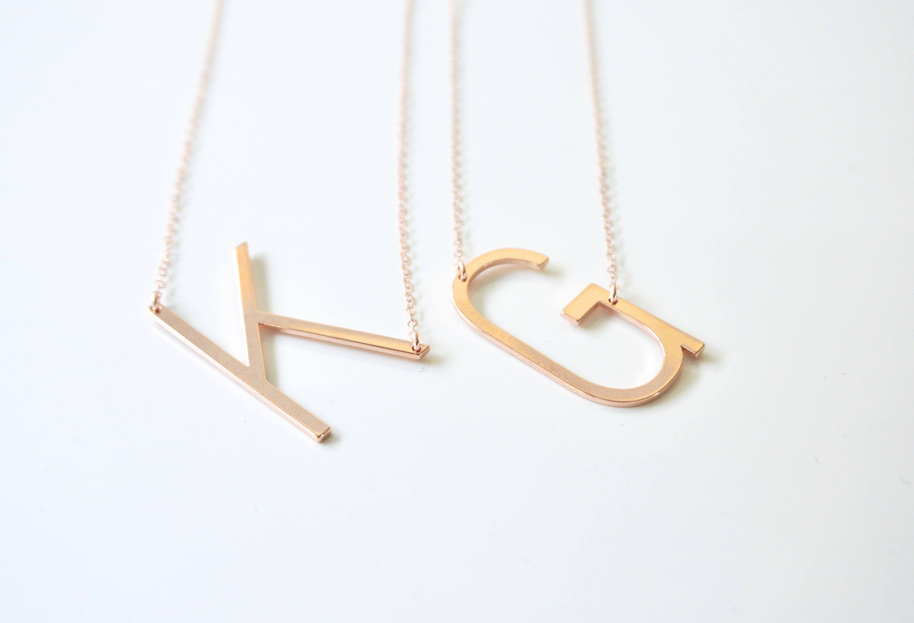 Rose gold large letter necklace rose gold large initial necklace rose gold large letter necklace rose gold large initial necklace sideways initial necklace initial jewelry personalized gif aloadofball