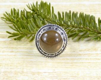 Cat-Eye Fancy Moonstone Ring // Moonstone Jewelry // Fancy Moonstone Jewelry // Sterling Silver // Village Silversmith