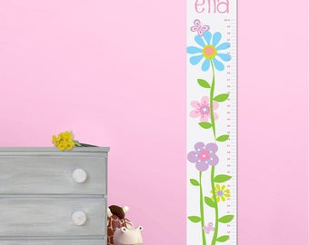 Butterflies & Blooms Growth Chart for Girls - Personalized Growth Charts - Children's Canvas Growth Charts - Gifts for Kids - GC925 BLOOMS