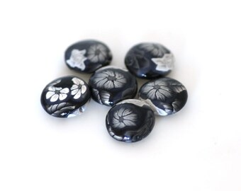 Black and White Beads, Polymer Clay Lentil Beads, Greyscale Roses 6 Pieces