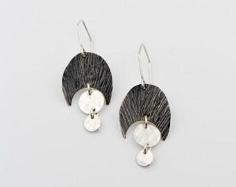 White Moonstone - Sterling Silver - Hammered Pod - Disk Earrings