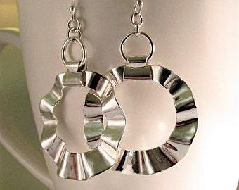 Hoop Earrings Large, Silver Ruffled Hoops, Statement Hoop Earrings