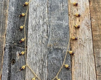Black Tahitian Pearl Necklace | Garnet | Chalcedony | 24K Gold Vermeil | Bohemian | Gemstone
