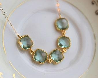 Prasiolite Necklace Gold Light Green Square Jewelry Wedding Jewelry - Green Bridesmaid Jewelry - Prasiolite Bridesmaid Statement Necklace