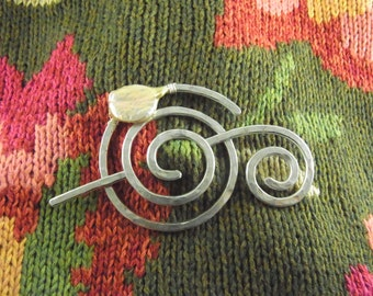 Hammered Shawl Pin Spiral with Genuine Champagne Fresh Water Coin Pearl