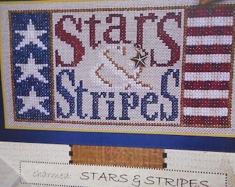 "Hinzeit Cross Stitch Kit -""Stars & Stripes"" - includes brass star charm"