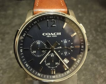 Gents COACH wristwatch with blue dial chrono with brown leather strap with box