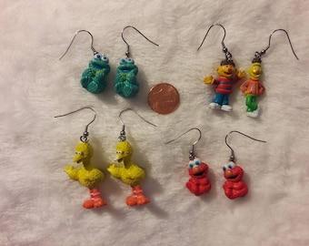 Sesame Street earrings you choose: Cookie Monster, Bert and Ernie,  Elmo, or Big Bird