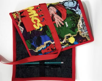 Quilted Pencil Case - Red/Black Marvel