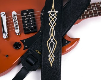 Silver and Gold Pinstriping on Black Leather Guitar Strap
