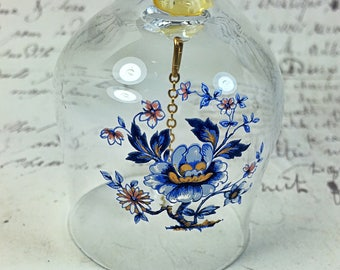 Vintage Crystal glass clear dinner  bell with blue flowers bead clacker