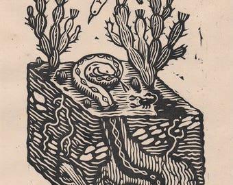 Little desert - Linocut on paper - Kathleen Neeley