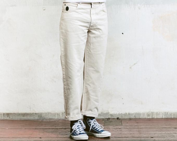 Beige Trussardi Jeans . Vintage Mens Denim Pants Retro 90s Jeans Mens Trousers Boyfriend Gift Casual Pants . size Medium M