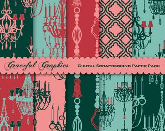 Scrapbook Paper Pack Digital Scrapbooking Background Papers French Paris CHANDELIERs Green RED Peach 10 Sheets 8.5 x 11 1672gg