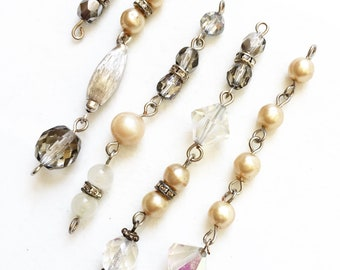 salvaged beaded chains for repurposing//gray transparent  and beige beads//different lengths--mixed lot of 5