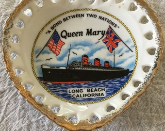 Vintage Heart-Shaped Queen Mary, Long Beach, California  Souvenir Plate