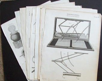 Antique scientific illustrations  x 9 Various