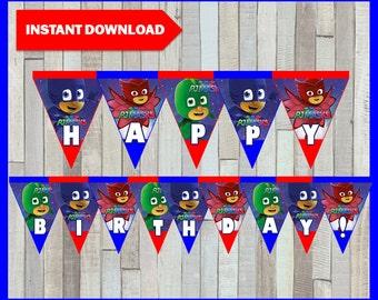 Printable Pj masks Banner instant download, Pj masks Birthday Banner, Printable Pj masks Triangle Banner