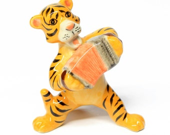 Animals Ceramic Tiger Playing Accordion Music Ceramic Hand painted
