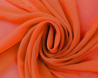 Orange Solid Hi-Multi Chiffon Fabric by the Yard, Chiffon Fabric, Wedding Chiffon, Lightweight Chiffon Fabric - Style 500
