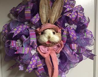Purple Easter Bunny wreath