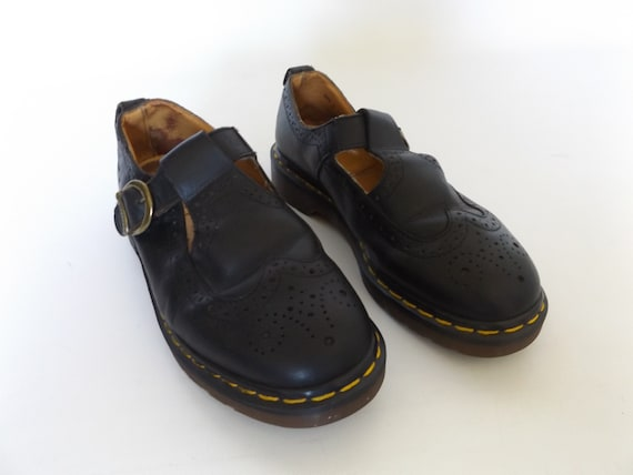 leather black size dr leather vintage grunge mary US marten 8 black 6 90s UK made rock jane 1990s in docs shoes england wingtip punk shoes rzzv07xn