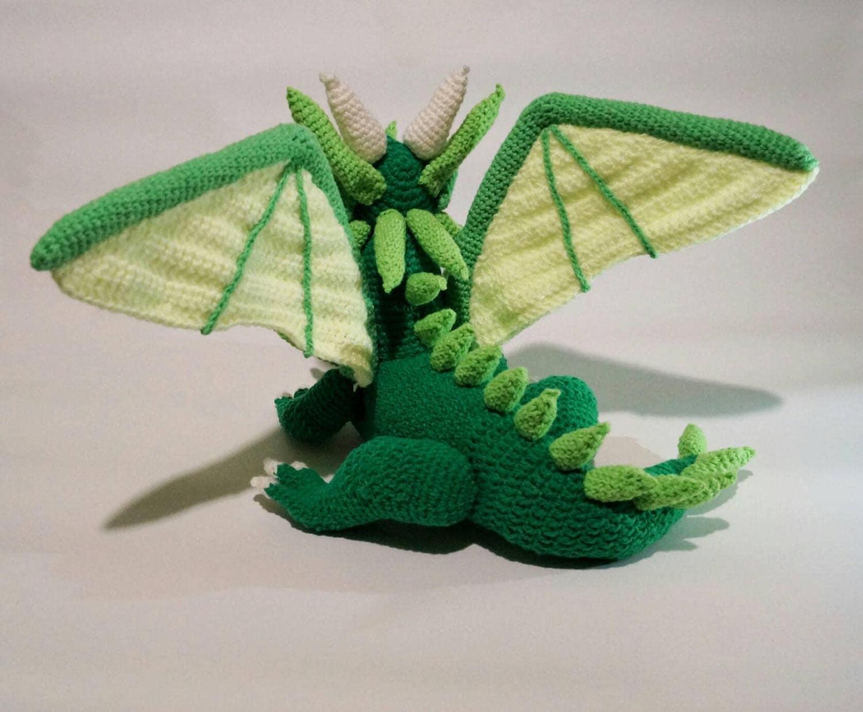 Amigurumi Dragon Wings : Green dragon pdf crochet pattern amigurumi dragon game of thrones