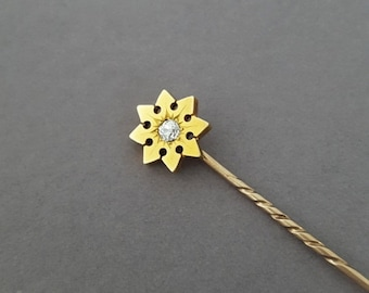 CLOSING SALE // Antique Victorian 10K Gold, Old European Cut Diamond Etruscan Star Stickpin - Choose Your Own Customization