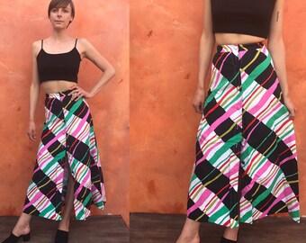 Vintage Mod Colorful Geometric 1970s Maxi SKIRT Boho Gypsy Festival Hippie bohemian. xs xxs Size 0 2