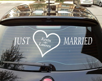 Wedding car decoration etsy just married car decal just married heart wedding decoration wedding car decal decoration junglespirit Choice Image