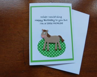 Horse Birthday Card - Horse Card - Horse Birthday - Funny Birthday Card - Birthday Handmade Greeting Card with horse embellishment