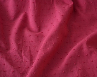 "Swiss Dot Fabric with Raised Dots Solid Dark Rose 100% Cotton 56"" Wide Fabric By the Yard"