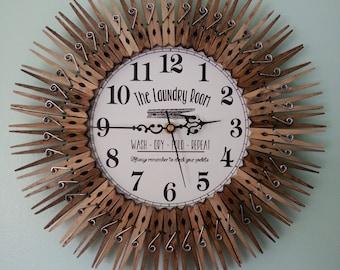Farmhouse Laundry Room Clock. Wall Decor.