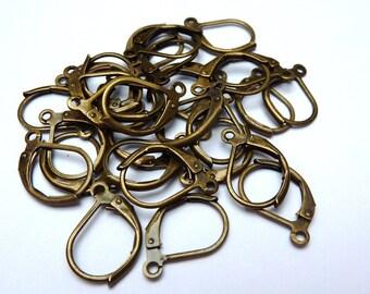 10 leverback earhooks, earwires, bronze