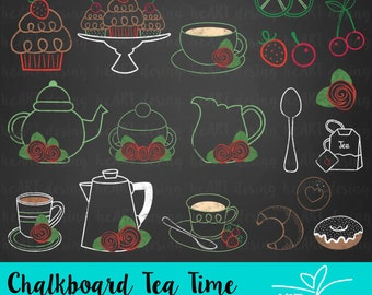 Chalkboard Tea Time Clipart / Digital Clip Art for Commercial and Personal Use / INSTANT DOWNLOAD