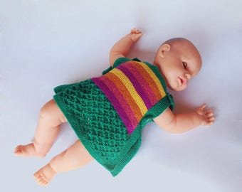 Knitted Baby Vintage Dress Knitting Pattern PDF. Illustrated Vintage Dress Knitting Tutorial with Detailed Insrtructions